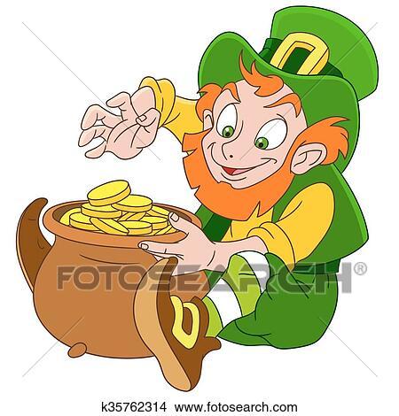 Cute cartoon leprechaun St. Patrick Clipart