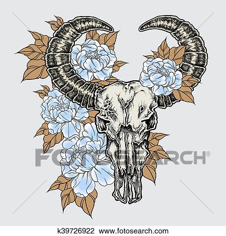 Clipart - Hand drawn dot work tattoo buffalo skull with flowers. Native american art in