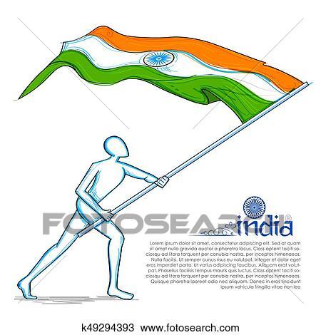 Clipart - hombre, levantar, bandera indio, celebrar, día de ...