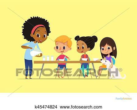 Clipart Lächeln Multirassisch Kindern Sitzen Tisch Und Haben