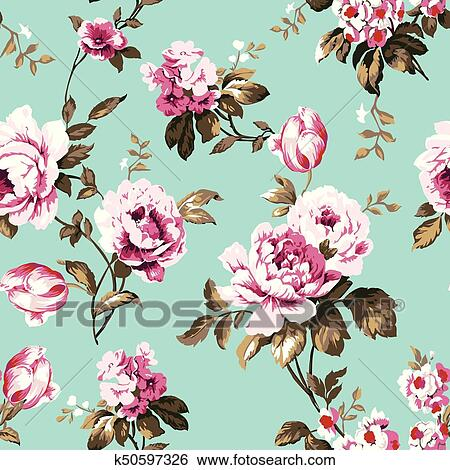 Shabby Chic Vintage Roses Tulips And Forget Me Nots Seamless Pattern Classic Chintz Floral Repeat Background For Web Print