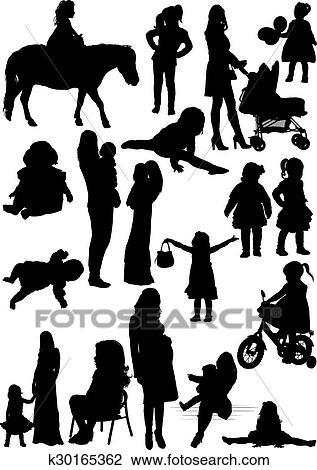 Siluetas De Madre E Hija Clipart K30165362
