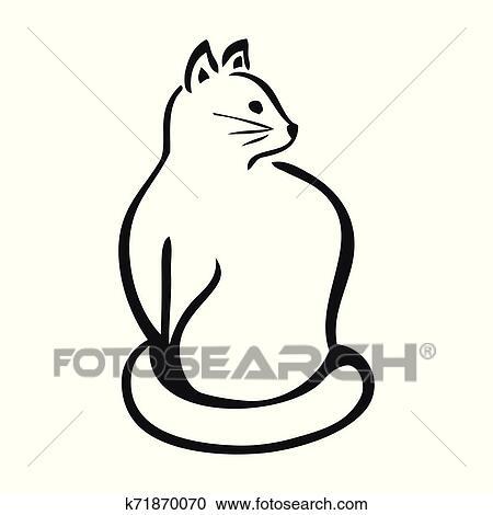 Simples Desenho De Gato Preto Branco Clipart K71870070