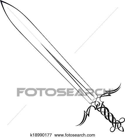 clipart - tatouage, épée, sur, a, fond blanc k18990177 - recherchez