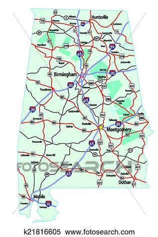 Alabama Interstate Highway Map Clipart