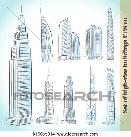 Klipart Budova Ikona Dat O Moderni Mrakodrapy K19055014