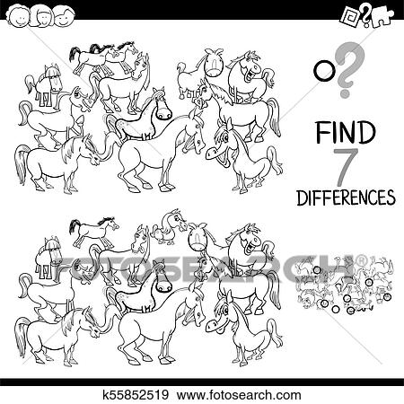 Differences game with farm horses coloring book Clip Art ...