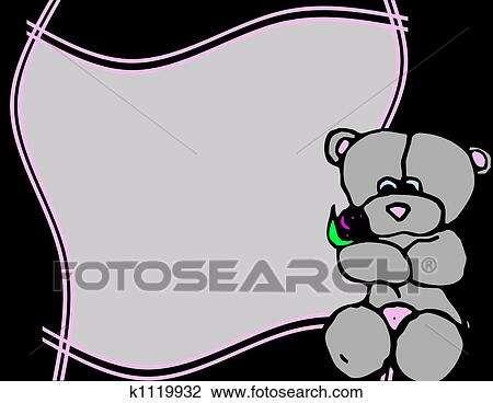 Clip Art of frame with teddy bear k1119932 - Search Clipart ...