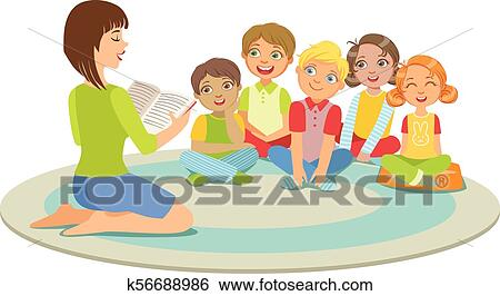 clip art of group of small kids sitting around the teacher on the