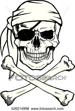 clip art of jolly roger pirate skull and crossbones k26214998 rh fotosearch com Pirate Skull and Crossbones Stencil pirate skull and crossbones clip art free