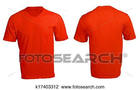 Stock Photo Of Mens Blank Red V Neck Shirt Template K17403312