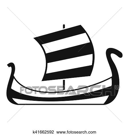 Clipart Moyen Age Bateau Icone Simple Style K41662592