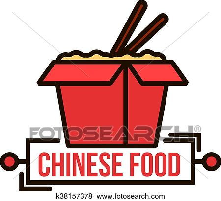 clip art of takeaway chinese noodle box thin line badge k38157378 rh fotosearch com chinese food box clipart chinese food clipart free