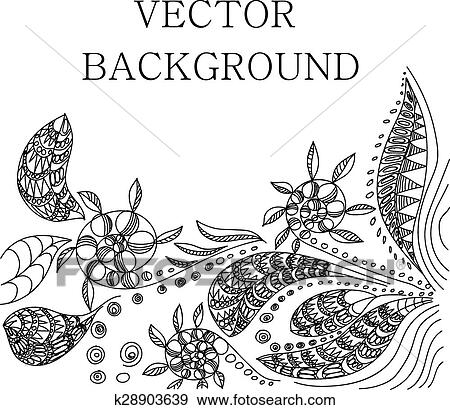 Clip Art Of Tattoo Henna Background K28903639 Search Clipart