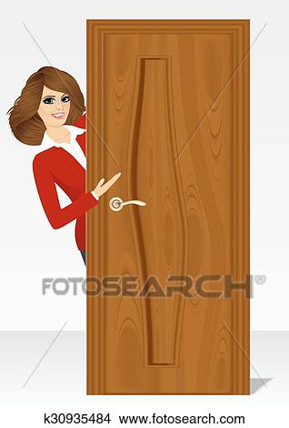 Clipart Of Woman Behind The Door K30935484 Search Clip