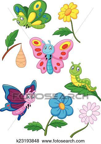 Clip Art - caricatura, mariposa, oruga, y k23193848 - Buscar Clip ...