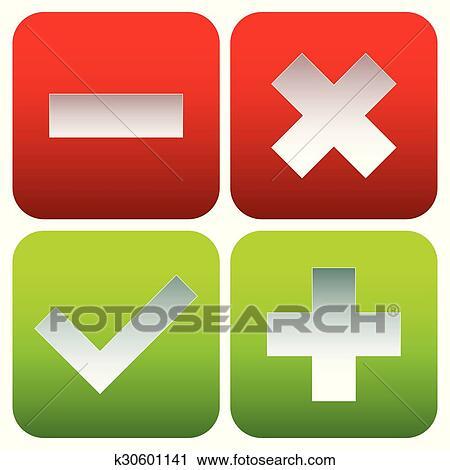 Check mark, cross, plus, minus sign set  vector Clipart