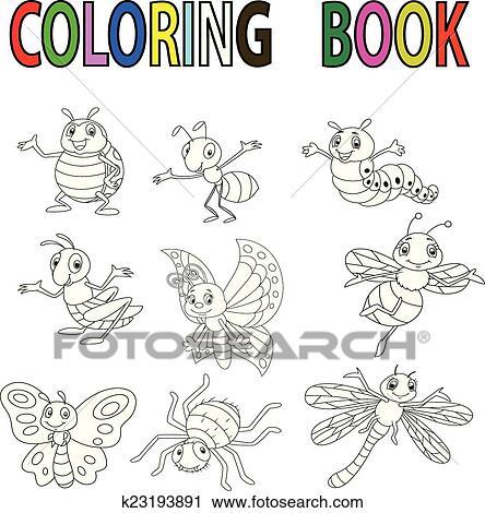 Clipart - divertido, caricatura, insecto, libro colorear k23193891 ...