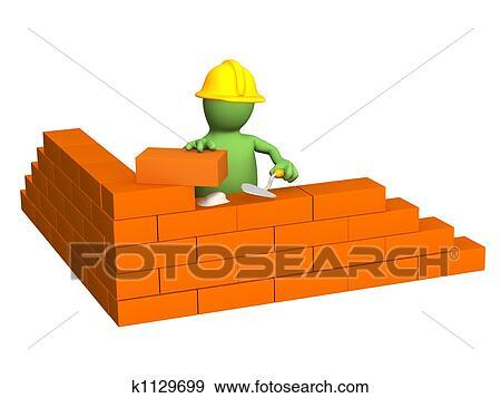 Archivio illustrazioni 3d burattino costruttore for Costruttore di piani di costruzione