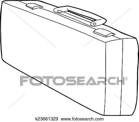 Long Suitcase Outline Clip Art