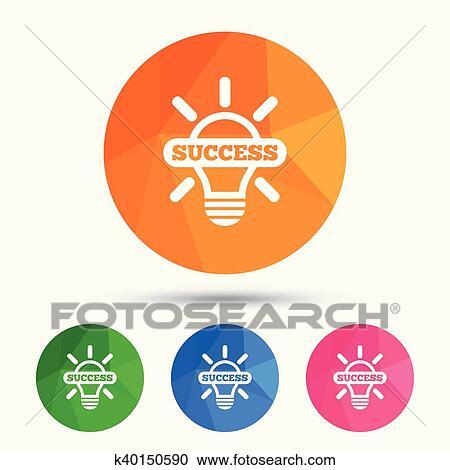 Lumière, lampe, signe, icon , ampoule, à, reussite, symbole Clipart