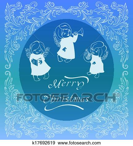 Angels Christmas Background.Rich Ornate Christmas Background With Singing Angels Clip Art