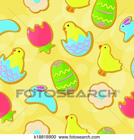 clipart of seamless easter cookie background k18818900 search clip