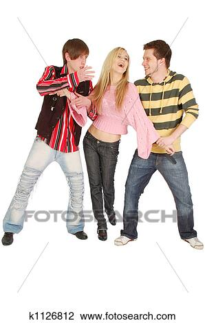 Stock Photo Two Guys Try To Share One Girl Fotosearch Search Stock Photography