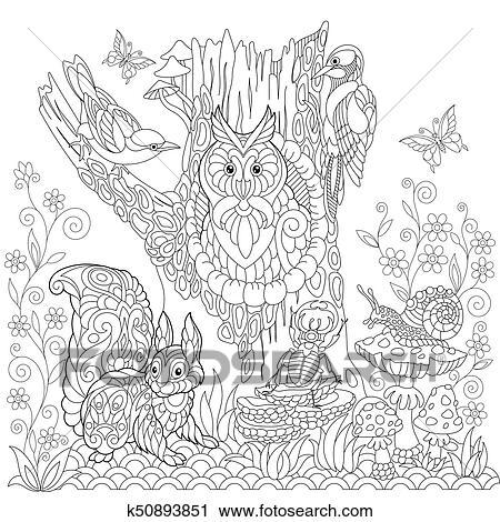 Clipart Zentangle Stilisiert Wald Landschaft K50893851 Suche