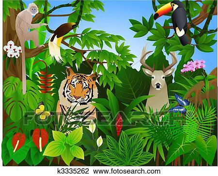 동물 에서 그만큼 정글 클립아트 K3335262 Fotosearch