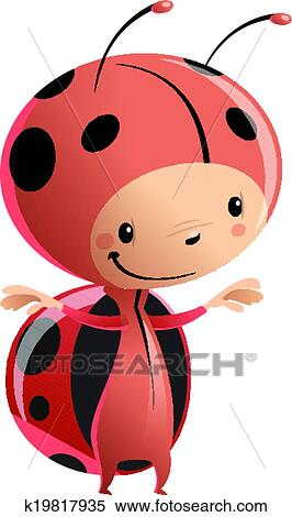Clipart   Cartoon Kid Wearing Funny Ladybug Costume. Fotosearch   Search  Clip Art, Illustration