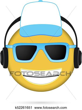 Cool Emoji listening to music and cap Clipart