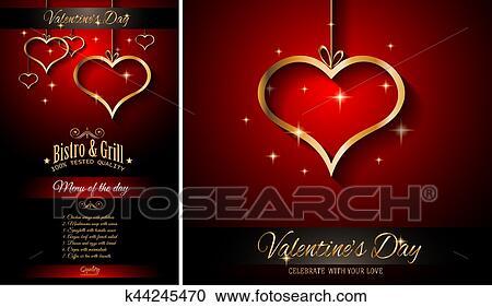 Día De Valentín Menú Restaurante Plantilla Plano De Fondo