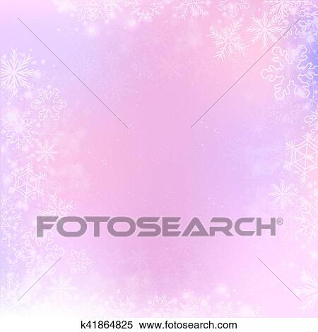 Clipart Of Gradient Winter Square Banner Background With Snowflake