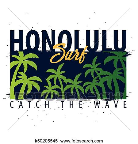 clipart of honolulu surfing graphic with palms t shirt design and