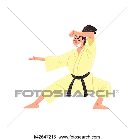 Karate Professional Fighter In Kimono With Black Belt Doing Classic Stance Cool Cartoon Character Clipart K42647215 Fotosearch