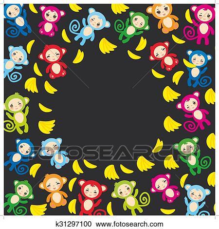 Gelbe Karte Lustig.Karte Schablone Lustig Grün Blau Rosa Orange Affe Gelb Bananen Jungen Mädchen Auf Schwarz Hintergrund Vektor Clipart