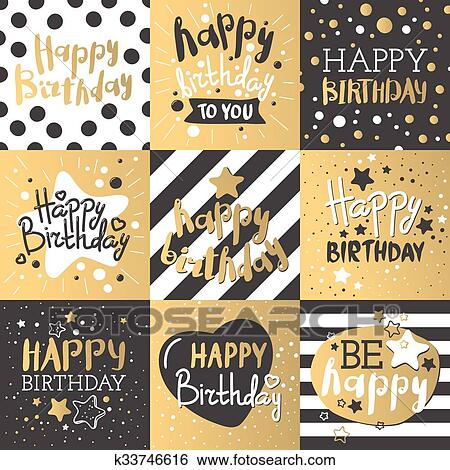 Clip art of set of beautiful birthday invitation cards decorated beautiful birthday invitation cards design gold and black colors birthday vector greeting card decoration gold black strips lettering stopboris Image collections