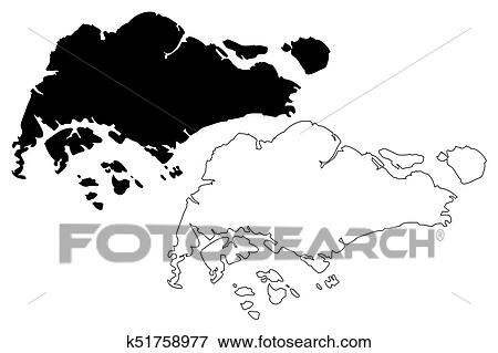 Clip Art of Singapore map vector k51758977 - Search Clipart ...