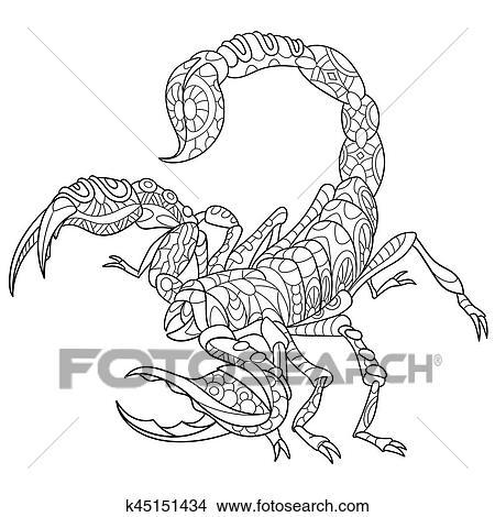 Clipart Zentangle Stilisiert Skorpion K45151434 Suche Clip Art