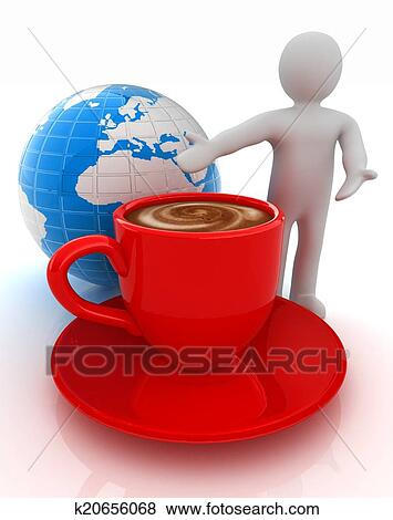 Stock Ilration People Man Person Presenting Mug Of Coffee With Milk