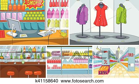 clipart of cartoon set of grocery store and pub backgrounds