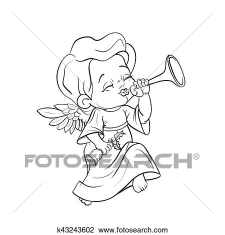 Clipart Of Cute Baby Angel Making Music Playing Trumpet K43243602