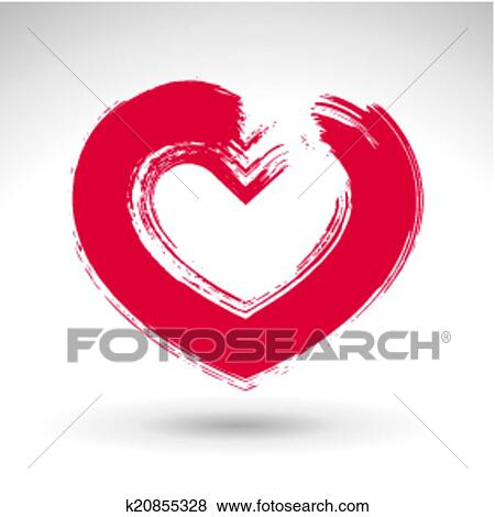 clip art of hand drawn red love heart icon brush drawing loving