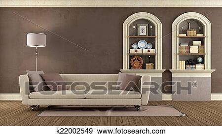 Stock Illustraties - ouderwetse, woonkamer k22002549 - Zoek Vector ...