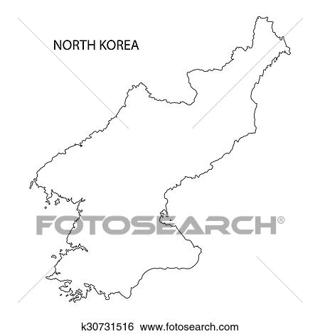 Clip Art of outline of North Korea map k30731516 - Search Clipart ...