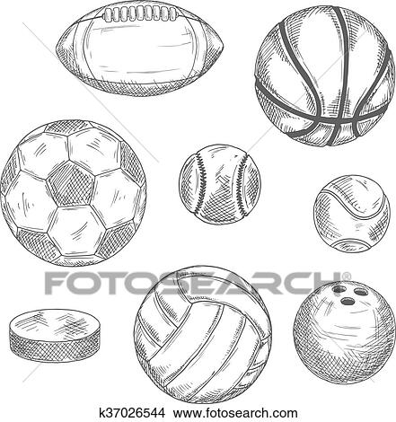 Sketches of sporting balls and ice hockey puck Clipart