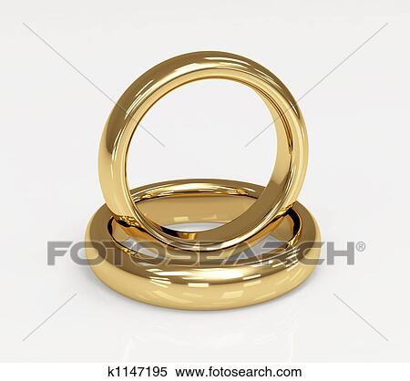 Stock Illustration Of Two 3d Gold Wedding Ring K1147195 Search