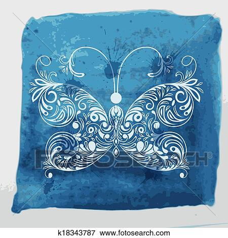 Vettore Bianco Farfalla Su Acquarello Sfondo Blu Con Blots E