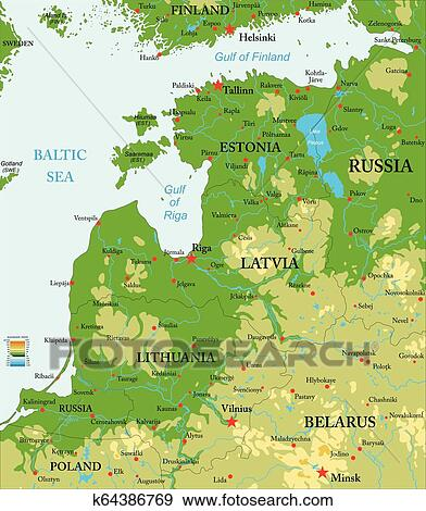 Baltic countries physical map Clip Art | k64386769 | Fotosearch